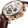 BINSSAW 1013 4799 Business Calendar Automatic Mechanical Men Leather Band Watch with Box - BROWN