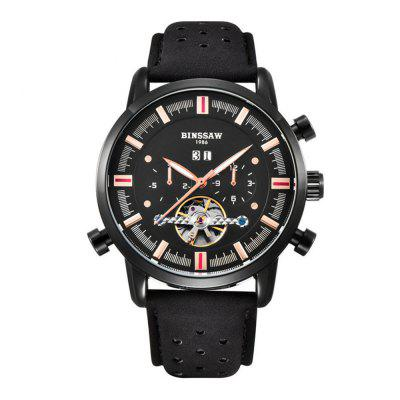 BINSSAW 1011 4793 Leisure Sports Calendário Men Leather Band Watch with Box