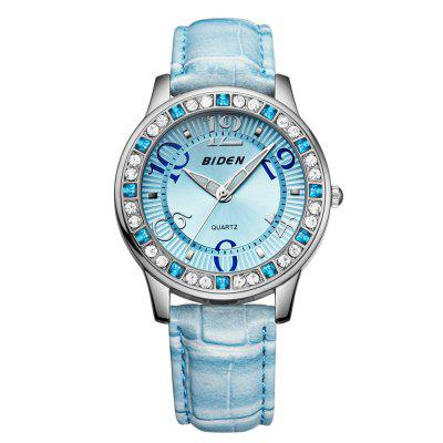 BlDEN 0010 4807 Moda Crystal Embedded Dial Women Leather Watch with Box
