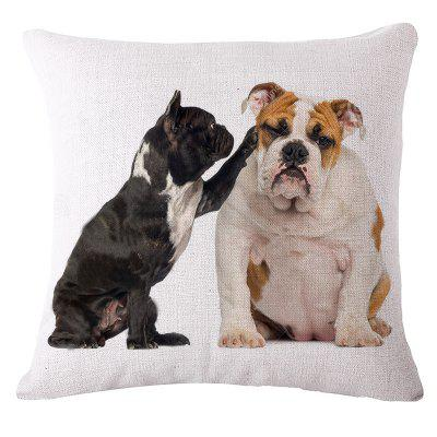 Cute Bulldog Prints Cotton and Linen Pillowcase Sofa
