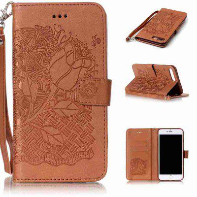 Double Embossed Rich Flowers Caso de telefone PU TPU para iPhone 7 Plus / 8 Plus