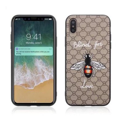 Concha de protección resistente a roturas, bordado animal para iPhone X