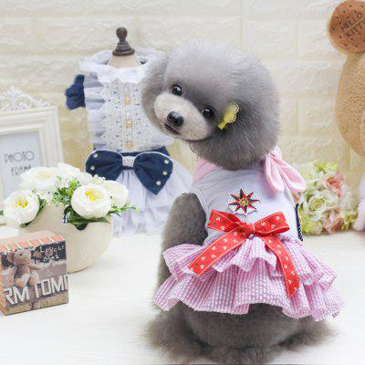 Lovoyager E5 Pet Clothes Classic Sailor Dog Dress Soft Cotton Skirt for Puppy Teddy Chihuahua Costumes