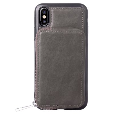 Mirror Zipper bag Card Lanyard Pu Leather Cover para iPhone X