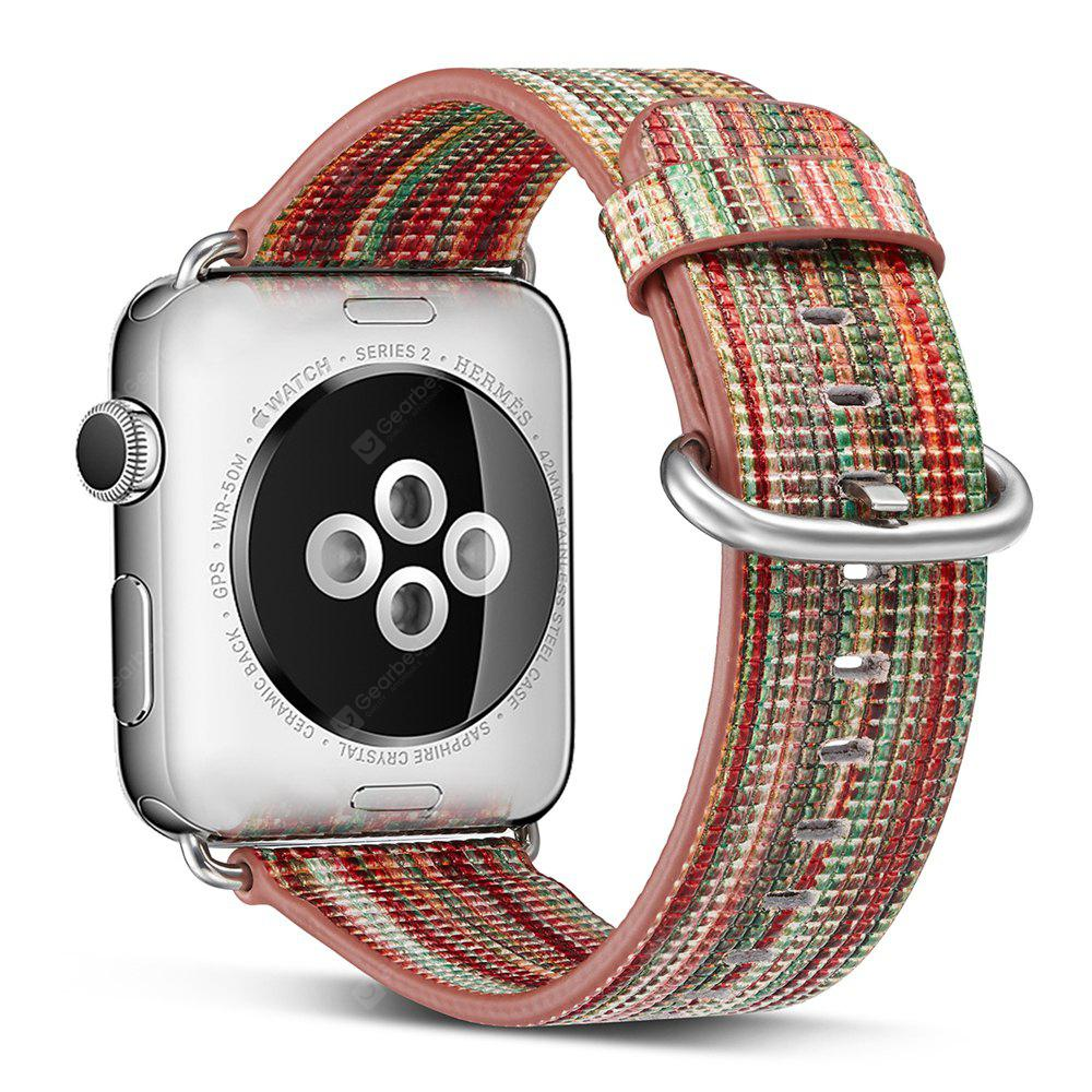 38MM Genuine Leather Strap Rainbow Replacement Bands with Stainless Metal Clasp for Apple Watch Series 3 / 2 / 1 Sports Edition Women Men
