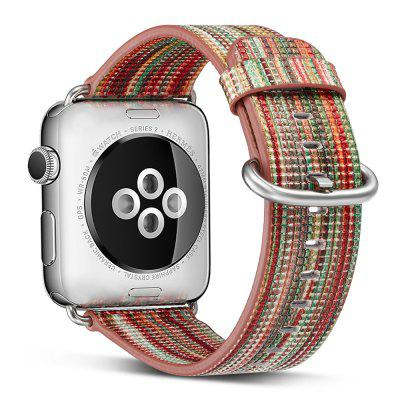 42MM Genuine Leather Strap Rainbow Replacement Bands with Stainless Metal Clasp for Apple Watch Series 3 / 2 / 1 Sports Edition Women Men