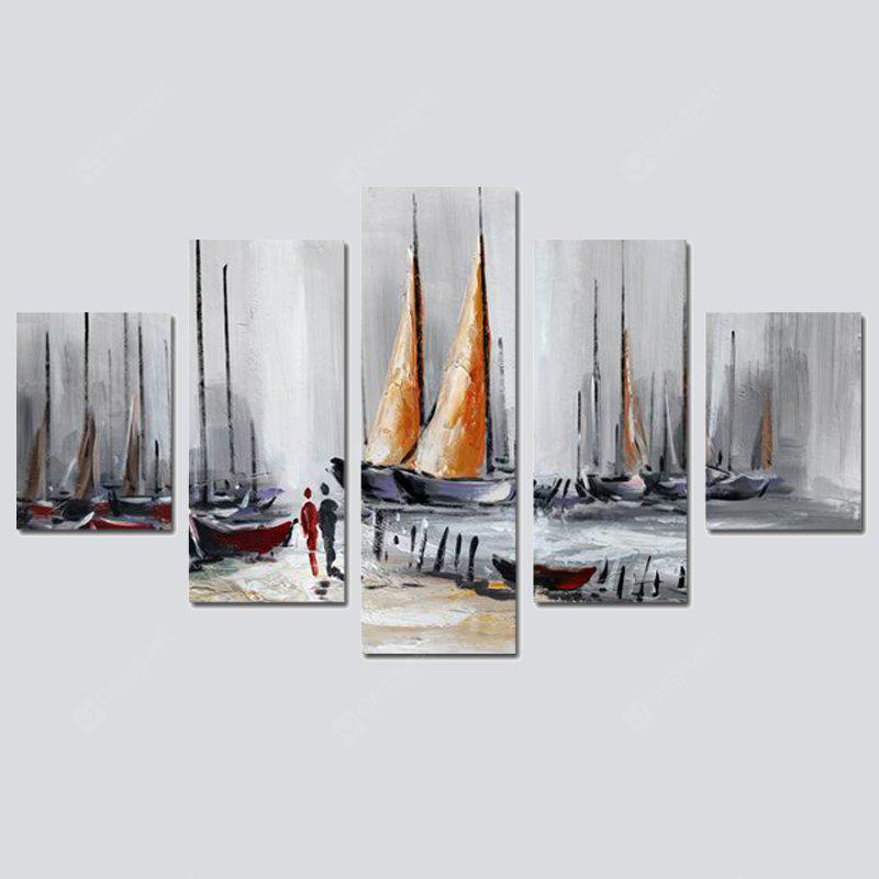 COLORMIX QiaoJiaoHuanYuan No Frame Canvas Five-link Painting Seaside Sailing Boat Landscape Decoration Painting