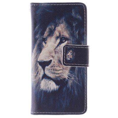 O Lion Pattern PU + TPU Leather Wallet Cover Design com Stand e Card Slots Capa de fecho magnético para Iphone 5C