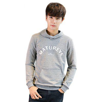 Buy Men's Fashion Printing Long-Sleeved Hoodie LIGHT GRAY M for $32.25 in GearBest store