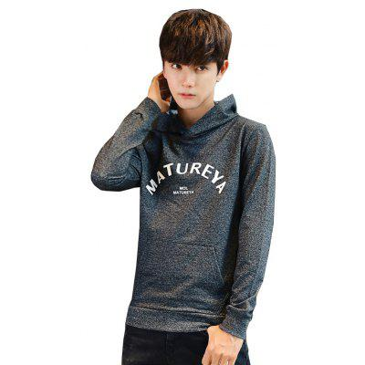 Buy Men's Fashion Printing Long-Sleeved Hoodie DEEP GRAY L for $32.25 in GearBest store