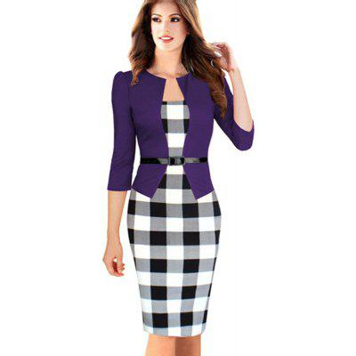 Womens Wear Seven Minutes Sleeve Plaid Stitching Fake Two Professional DressesBodycon Dresses<br>Womens Wear Seven Minutes Sleeve Plaid Stitching Fake Two Professional Dresses<br><br>Dresses Length: Knee-Length<br>Elasticity: Micro-elastic<br>Embellishment: Sashes<br>Fabric Type: Broadcloth<br>Material: Cotton Blend<br>Neckline: Square Collar<br>Occasion: Office, Work<br>Package Contents: 1xDress<br>Pattern Type: Patchwork<br>Season: Fall<br>Silhouette: Straight<br>Sleeve Length: 3/4 Length Sleeves<br>Style: Work<br>Weight: 0.2500kg<br>With Belt: Yes