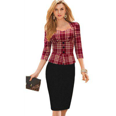 Womens Clothing Seven-Cent Plaid Spliced Fashion Fake Two Pieces DressesBodycon Dresses<br>Womens Clothing Seven-Cent Plaid Spliced Fashion Fake Two Pieces Dresses<br><br>Dresses Length: Knee-Length<br>Elasticity: Elastic<br>Material: Cotton Blend<br>Neckline: Square Collar<br>Occasion: Office, Work<br>Package Contents: 1xDress<br>Pattern Type: Patchwork<br>Season: Fall<br>Silhouette: Straight<br>Sleeve Length: 3/4 Length Sleeves<br>Style: Work<br>Weight: 0.2500kg<br>With Belt: No