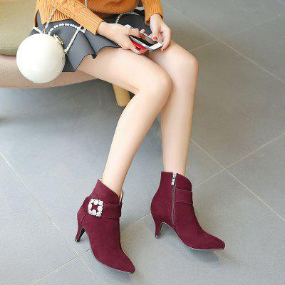 Womens Ankle Boots Rhinestone Ornament Thin Heel Pointed Toe BootsWomens Boots<br>Womens Ankle Boots Rhinestone Ornament Thin Heel Pointed Toe Boots<br><br>Boot Height: Ankle<br>Boot Type: Work &amp; Safety<br>Closure Type: Zip<br>Embellishment: Metal<br>Gender: For Women<br>Heel Height: 7<br>Heel Height Range: Med(1.75-2.75)<br>Heel Type: Kitten Heel<br>Outsole Material: Rubber<br>Package Contents: 1 x Shoes?pair?<br>Pattern Type: Solid<br>Season: Spring/Fall, Winter<br>Toe Shape: Pointed Toe<br>Upper Material: PU<br>Weight: 1.2320kg