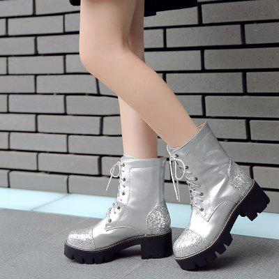 Womens Martin Boots Glitter Patchwork Lace Up Platform BootsWomens Boots<br>Womens Martin Boots Glitter Patchwork Lace Up Platform Boots<br><br>Boot Height: Mid-Calf<br>Boot Tube Circumference: 28<br>Boot Tube Height: 17<br>Boot Type: Motorcycle Boots<br>Closure Type: Lace-Up<br>Embellishment: Sequined<br>Gender: For Women<br>Heel Height: 5<br>Heel Height Range: Med(1.75-2.75)<br>Heel Type: Chunky Heel<br>Outsole Material: Rubber<br>Package Contents: 1 x Shoes?pair?<br>Pattern Type: Patchwork<br>Season: Spring/Fall, Winter<br>Toe Shape: Round Toe<br>Upper Material: PU<br>Weight: 1.2320kg