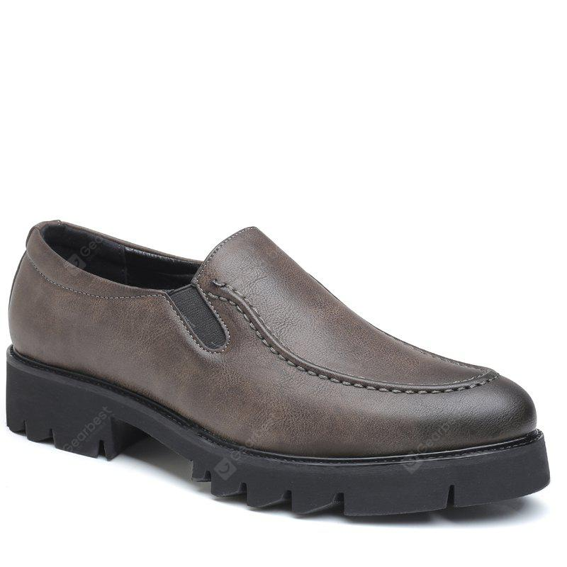 Men Leisure Slip Leather Shoes - GRAY