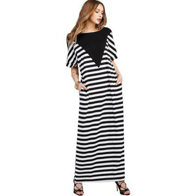 New European and American Striped Casual Short Sleeved DressMaxi Dresses<br>New European and American Striped Casual Short Sleeved Dress<br><br>Dresses Length: Ankle-Length<br>Elasticity: Micro-elastic<br>Fabric Type: Broadcloth<br>Material: Cotton<br>Neckline: Round Collar<br>Package Contents: 1 x Dress<br>Pattern Type: Striped<br>Season: Summer<br>Silhouette: Straight<br>Sleeve Length: Short Sleeves<br>Style: Brief<br>Weight: 0.2800kg<br>With Belt: No