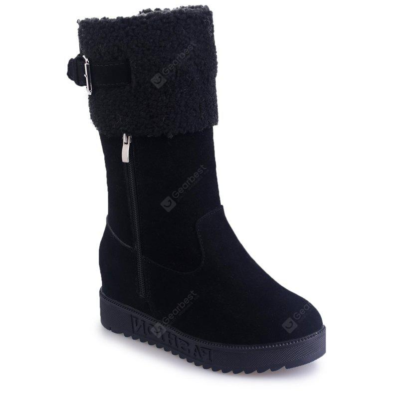 BLACK 38 Winter New Suede High Tube Casual Fashion Boots