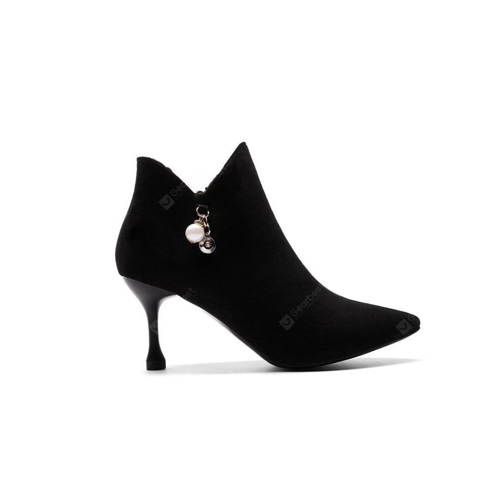 Europe and The United States Autumn and Winter New Pointed Pearl High-Heeled Short Boots