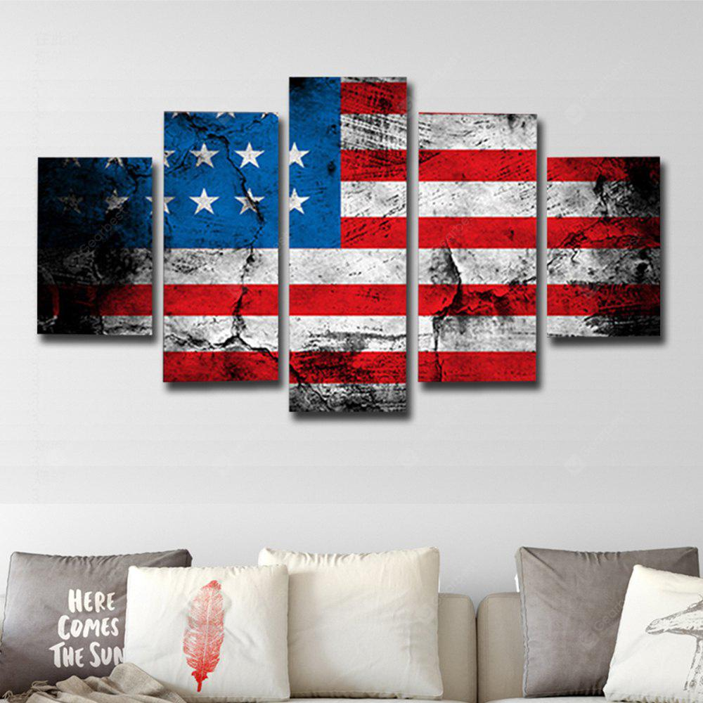 Printed Painting American Flag Canvas Print 5PCS