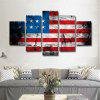 Printed Painting American Flag Canvas Print 5PCS - COLORFUL