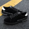 Men Casual Fashion Outdoor Lace Up Leather Flat Shoes - BLACK
