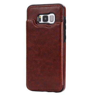 Buy BROWN Case for Samsung Galaxy S8 Card Holder with Stand Back Cover Solid Color Hard PU Leather for $6.14 in GearBest store