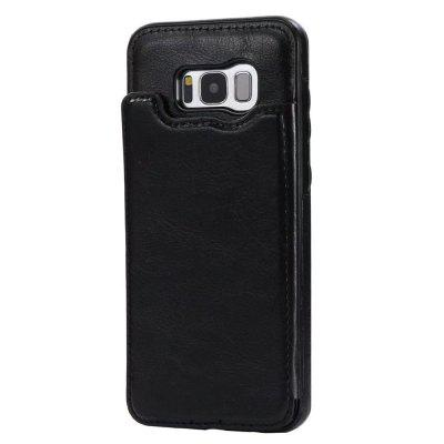 Buy BLACK Case for Samsung Galaxy S8 Card Holder with Stand Back Cover Solid Color Hard PU Leather for $6.14 in GearBest store