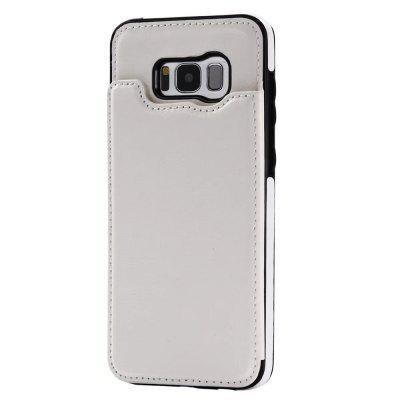 Buy WHITE Case for Samsung Galaxy S8 Card Holder with Stand Back Cover Solid Color Hard PU Leather for $6.14 in GearBest store