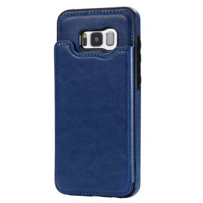 Buy DEEP BLUE Case for Samsung Galaxy S8 Card Holder with Stand Back Cover Solid Color Hard PU Leather for $6.14 in GearBest store