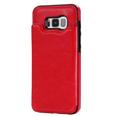 Buy RED Case for Samsung Galaxy S8 Card Holder with Stand Back Cover Solid Color Hard PU Leather for $6.14 in GearBest store