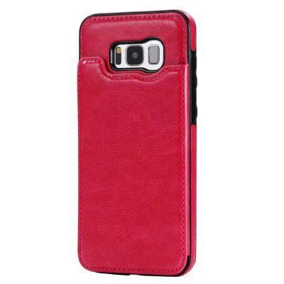 Buy ROSE RED Case for Samsung Galaxy S8 Card Holder with Stand Back Cover Solid Color Hard PU Leather for $6.14 in GearBest store