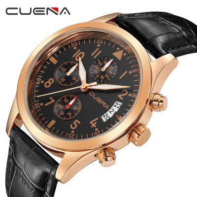 CUENA 6810P Genuine Leather Quartz Watch Sports Multifunctional Men WatchMens Watches<br>CUENA 6810P Genuine Leather Quartz Watch Sports Multifunctional Men Watch<br><br>Band material: Stainless Steel<br>Band size: 25.5 x 2cm<br>Brand: CUENA<br>Case material: Alloy<br>Clasp type: Pin buckle<br>Dial size: 4.1 x 4.1 x 1.1cm<br>Display type: Analog<br>Movement type: Quartz watch<br>Package Contents: 1 x Watch, 1 x Box<br>Package size (L x W x H): 16.00 x 8.00 x 3.00 cm / 6.3 x 3.15 x 1.18 inches<br>Package weight: 0.1080 kg<br>Product size (L x W x H): 25.50 x 4.10 x 1.10 cm / 10.04 x 1.61 x 0.43 inches<br>Product weight: 0.0530 kg<br>Shape of the dial: Round<br>Special features: Working sub-dial, Stopwatch, Luminous, Light, Day, IP plating<br>Watch mirror: Mineral glass<br>Watch style: Cool, Casual, Fashion, Retro, Trends in outdoor sports<br>Watches categories: Male table,Men<br>Water resistance: 30 meters