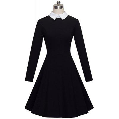 Vintage Classic Turn-down Neck Elegant Ladylike Charming Solid Full Length Sleeve Ball Gown Formal Woman DressWomens Dresses<br>Vintage Classic Turn-down Neck Elegant Ladylike Charming Solid Full Length Sleeve Ball Gown Formal Woman Dress<br><br>Image Source: Actual Images<br>Material: Cotton, Polyester, Spandex<br>Package Contents: 1?Dress<br>Season: Fall<br>Silhouette: A-Line<br>Weight: 0.4000kg
