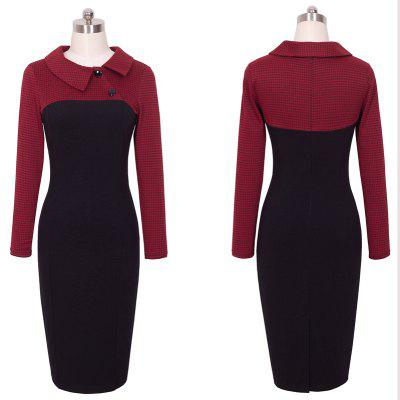 Elegant Vintage Fitted Winter Dress Full Sleeve Patchwork Turn-down Collar Button Business Sheath Pencil DressLong Sleeve Dresses<br>Elegant Vintage Fitted Winter Dress Full Sleeve Patchwork Turn-down Collar Button Business Sheath Pencil Dress<br><br>Dresses Length: Knee-Length<br>Elasticity: Micro-elastic<br>Embellishment: Vintage<br>Fabric Type: Broadcloth<br>Material: Cotton Blend<br>Neckline: Turn-down Collar<br>Package Contents: 1?Dress<br>Pattern Type: Patchwork<br>Season: Fall<br>Silhouette: Sheath<br>Sleeve Length: Long Sleeves<br>Style: Vintage<br>Weight: 0.4000kg<br>With Belt: No
