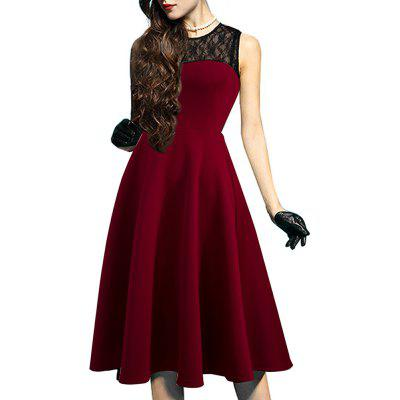 Buy DEEP RED L Elegant Ladylike Stylish Lace Charming Sexy Women O Neck Sleeveless Vintage Ball Gown Little Black Dress for $27.93 in GearBest store