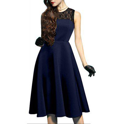 Buy DEEP BLUE L Elegant Ladylike Stylish Lace Charming Sexy Women O Neck Sleeveless Vintage Ball Gown Little Black Dress for $27.93 in GearBest store