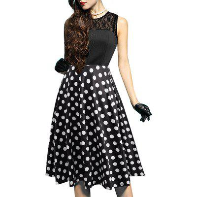 Buy DOT PATTERN M Elegant Ladylike Stylish Lace Charming Sexy Women O Neck Sleeveless Vintage Ball Gown Little Black Dress for $27.93 in GearBest store