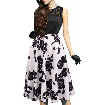 Buy BLACK + WHITE 2XL Elegant Ladylike Stylish Lace Charming Sexy Women O Neck Sleeveless Vintage Ball Gown Little Black Dress for $27.93 in GearBest store