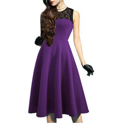 Buy PURPLE L Elegant Ladylike Stylish Lace Charming Sexy Women O Neck Sleeveless Vintage Ball Gown Little Black Dress for $27.93 in GearBest store