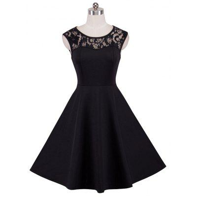 Elegant Ladylike Stylish Lace Charming Sexy Women O Neck Sleeveless Vintage Ball Gown Little Black DressWomens Dresses<br>Elegant Ladylike Stylish Lace Charming Sexy Women O Neck Sleeveless Vintage Ball Gown Little Black Dress<br><br>Image Source: Actual Images<br>Material: Cotton, Polyester, Spandex<br>Neckline: Jewel Neck<br>Package Contents: 1?Dress<br>Season: Fall<br>Silhouette: A-Line<br>Weight: 0.3800kg