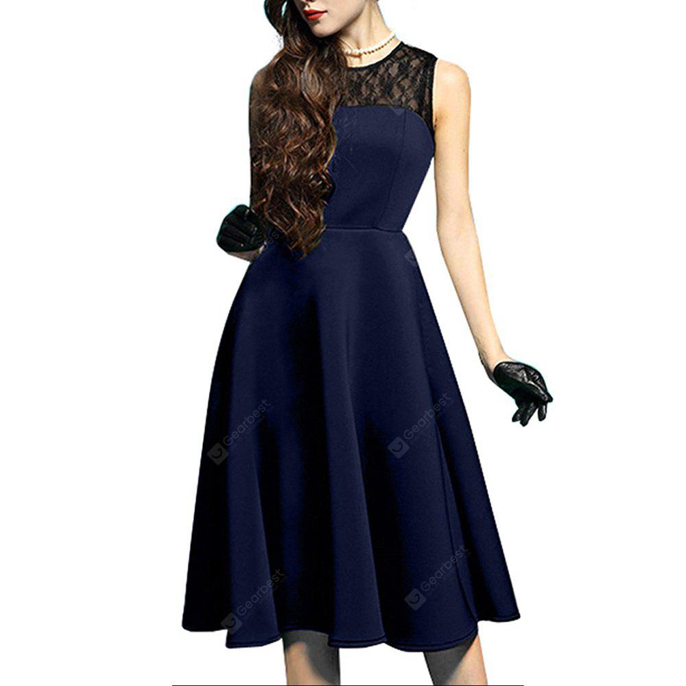 DEEP BLUE 2XL Elegant Ladylike Stylish Lace Charming Sexy Women O Neck Sleeveless Vintage Ball Gown Little Black Dress