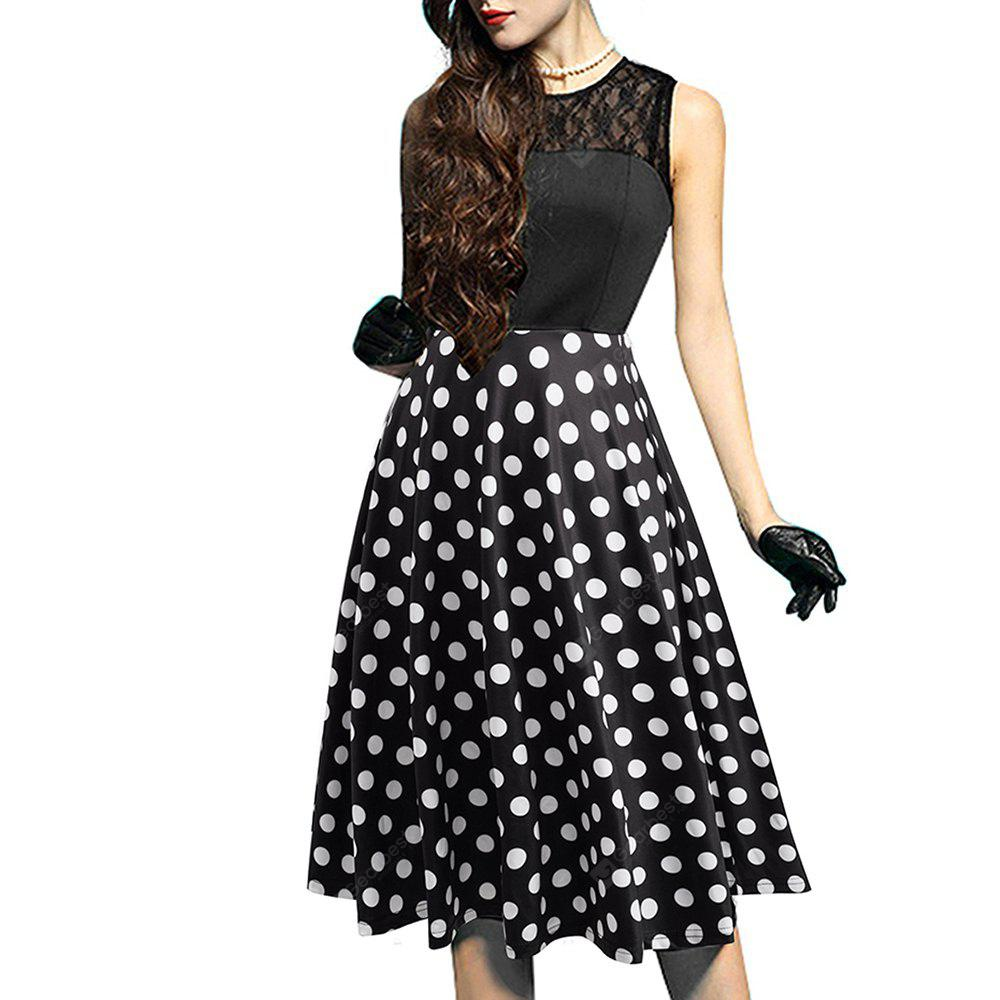 DOT PATTERN XL Elegant Ladylike Stylish Lace Charming Sexy Women O Neck Sleeveless Vintage Ball Gown Little Black Dress