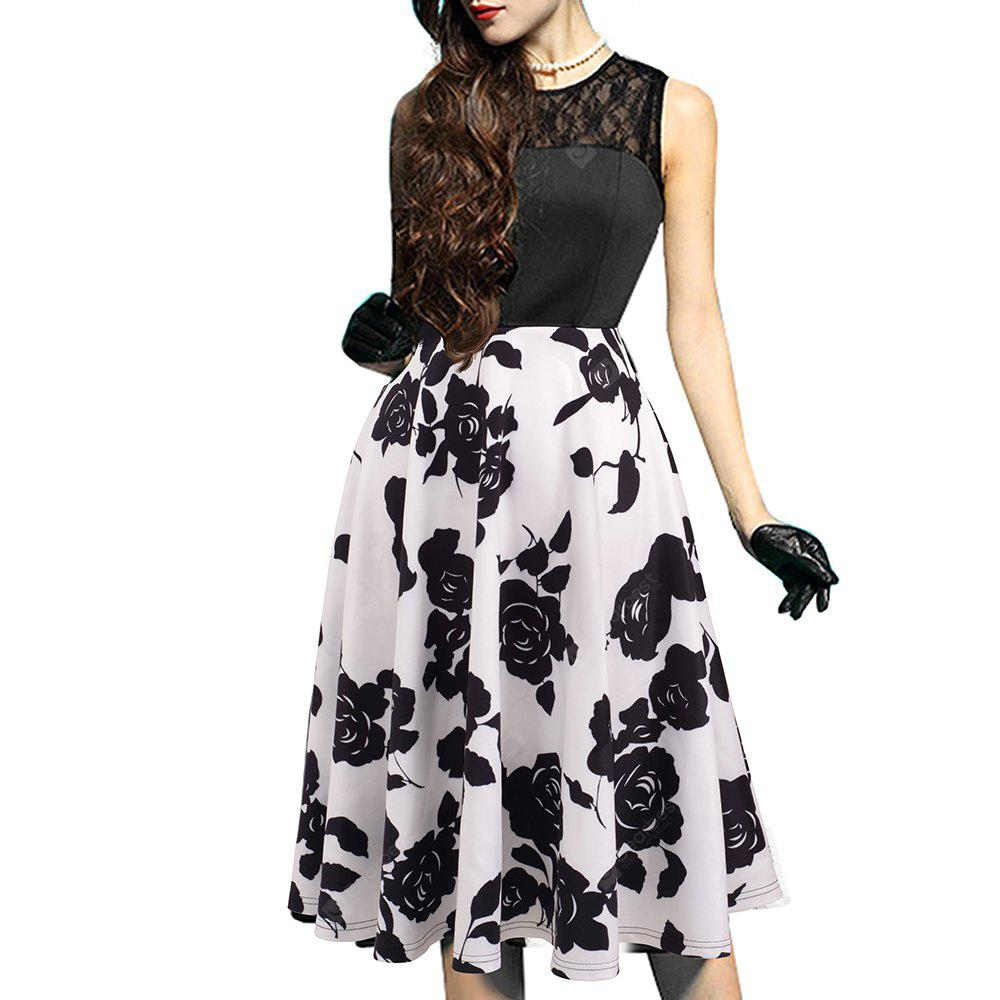 BLACK + WHITE L Elegant Ladylike Stylish Lace Charming Sexy Women O Neck Sleeveless Vintage Ball Gown Little Black Dress