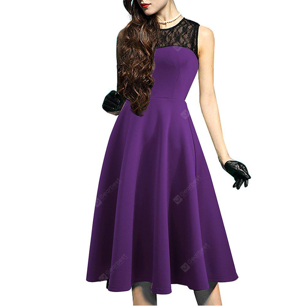 PURPLE XL Elegant Ladylike Stylish Lace Charming Sexy Women O Neck Sleeveless Vintage Ball Gown Little Black Dress
