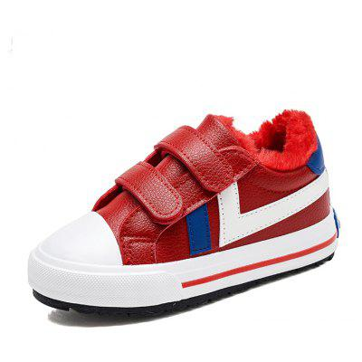 Male and Female Children Winter Low Students with Super Fiber Leisure Shoes