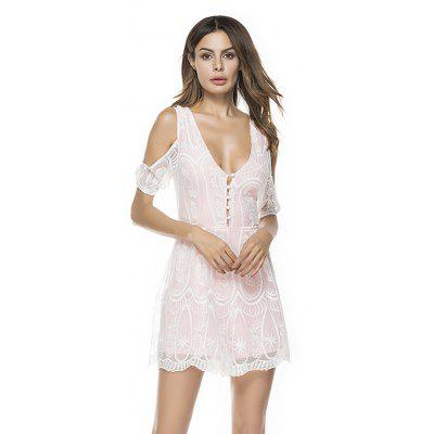 Buy WHITE L 2018 New Women'S V Neck Sleeveless Straps Skinny Jumpsuit Cross-Tie Lace Jumpsuit for $35.42 in GearBest store