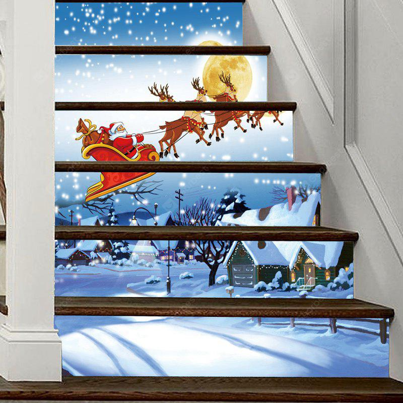 Christmas Snowy Night Santa Pattern Decorative Stair Decal 6PCS
