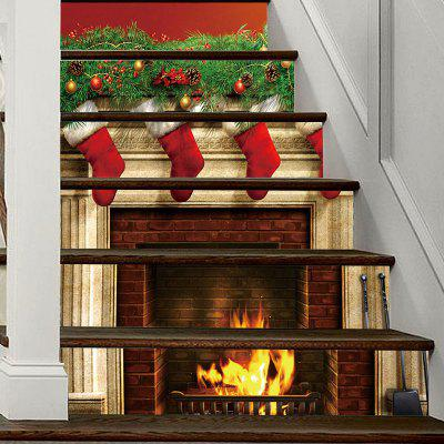 Christmas Fireplace Stockings Pattern Decorative Stair Decal 6PCS