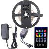 HML 5M 24W SMD2835 300 LEDs RGB Strip Light with IR 20 Keys Music Remote Controller and US DC Adapter - RGB