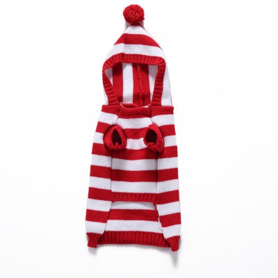 Cute Hat Striped Dog SweaterDog Clothing &amp; Shoes<br>Cute Hat Striped Dog Sweater<br><br>For: Dogs<br>Material: Polyester<br>Package Contents: 1 x Dog Sweater<br>Package size (L x W x H): 8.00 x 5.00 x 5.00 cm / 3.15 x 1.97 x 1.97 inches<br>Package weight: 0.1000 kg<br>Product size (L x W x H): 34.00 x 42.00 x 0.50 cm / 13.39 x 16.54 x 0.2 inches<br>Product weight: 0.0900 kg<br>Season: Autumn, Winter<br>Type: Others